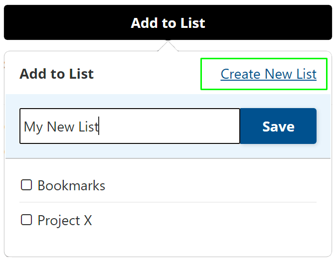 Create a New List any time.
